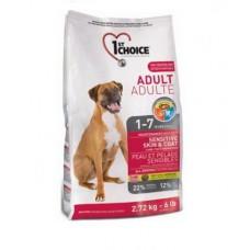 Корм 1st Choice для собак с чувствительной кожей и для шерсти, ягненок и рыба