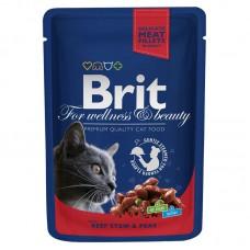 "Brit Premium корм для кошек ""Рагу из говядины с горошком"""