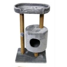 Домик - когтеточка круглый с площадкой