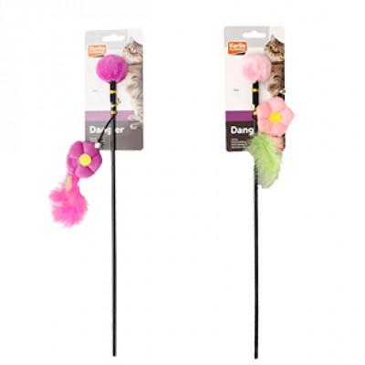 Karlie-Flamingo игрушка для кошек дразнилка с цветком