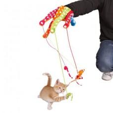 """Игрушка для кошки """"Перчатка с помпонами"""", 34 см, цветная."""