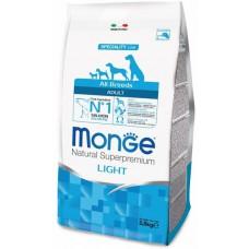 Корм Monge Dog Light низкокалорийный корм для собак с лососем с рисом