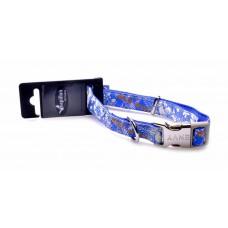 Нейлоновый ошейник с рисунком 15мм-26-40см, синий