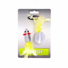 Игрушка для кошек мышка и мячик с перьями серебряные