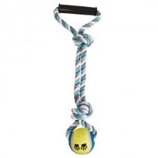 """Игрушка для собак """"Верёвка с ручкой, 2 узла и мяч"""""""