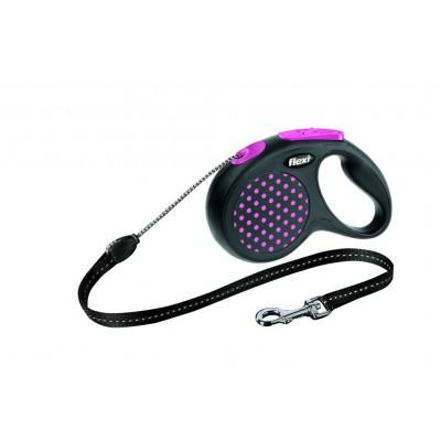 Flexi Design S рулетка-трос для собак розовая 5м/12кг