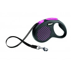 Flexi Design S рулетка-ремень для собак розовая 5м/15кг