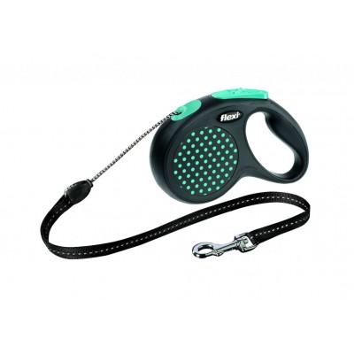 Flexi Design M рулетка-трос для собак голубая 5м/20кг