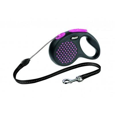 Flexi Design M рулетка-трос для собак розовая 5м/20кг