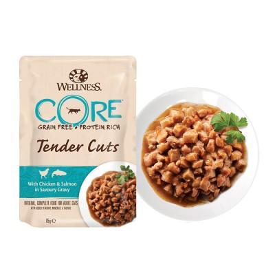 Пауч Wellness CORE для кошек нежные кусочки курицы и лосося в пикантном соусе