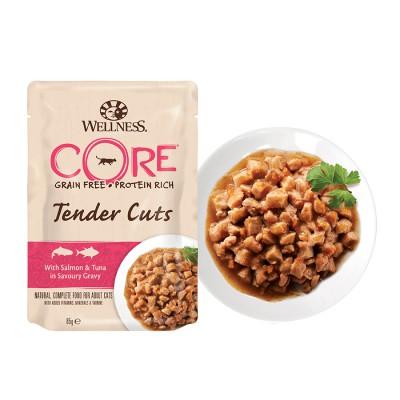 Пауч Wellness CORE для кошек нежные кусочки лосося и тунца в пикантном соусе