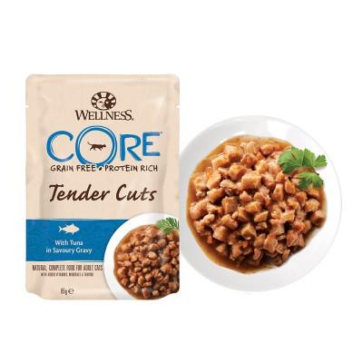 Пауч Wellness CORE для кошек нежные кусочки тунца в пикантном соусе