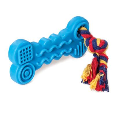 """Игрушка для собак из ц/литой резины """"Косточка с веревкой"""", 95/165мм"""