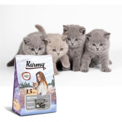 Корм Karmy для британских котят, беременных и кормящих кошек, индейка