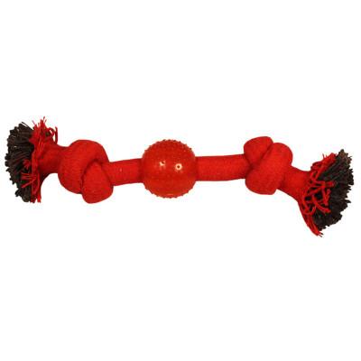 """Игрушка для собак """"Веревка-канат, 2 узла и мяч"""", 230 мм"""