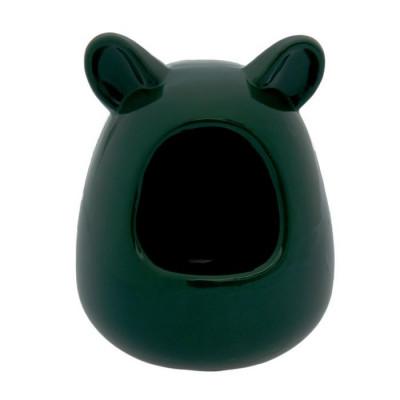 Домик для грызунов керамический чёрный.