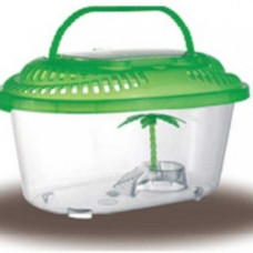Переноска - террариум с пластиковой крышкой , островком и пальмой.