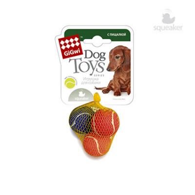 Игрушка для собак 3 мяча с пищалкой  4,8 см. GiGWi