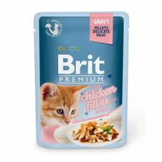 "Brit Premium корм для котят ""кусочки из куриного филе в соусе""."