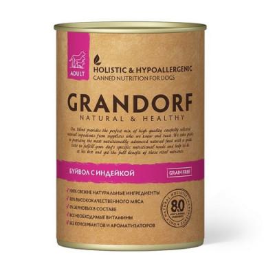 Консервы Grandorf для собак буйвол и индейка