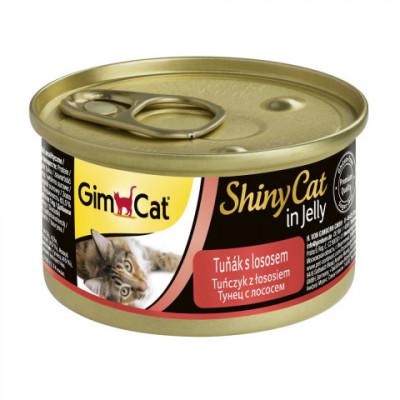 Консервы Gimpet ShinyCat для кошек, тунец с лососем