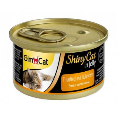 Консервы Gimpet ShinyCat для кошек, тунец с цыплёнком