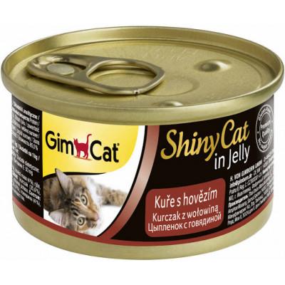Консервы Gimpet ShinyCat для кошек, цыплёнок с говядиной