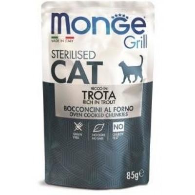 Monge Cat Grill Pouch для стерилизованных кошек, итальянская форель