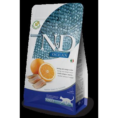 Корм Farmina N&D для взрослых кошек, рыба и апельсин