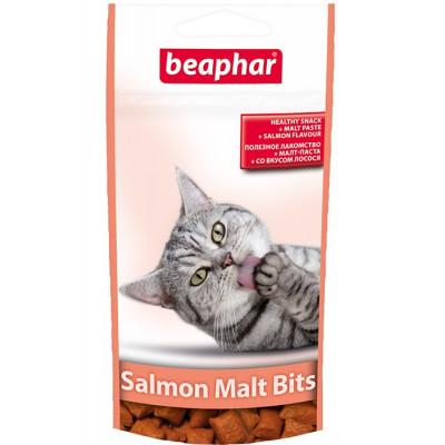Beaphar хрустящие подушечки «Salmon Malt Bits» для выведения шерсти из желудка, лосось