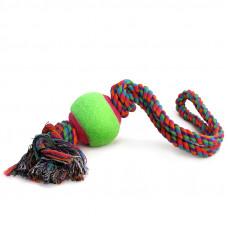 """Игрушка для собак """"Верёвка с петлей, 2 узла и мяч"""", d65/450мм"""