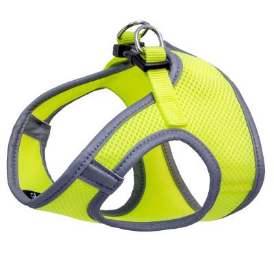 Комплект мягкая шлейка-жилетка и поводок неоново-желтый XS, обхват груди 300мм, поводок 15*1200мм