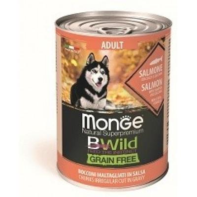 Корм Monge Dog BWild консервы из лосося с тыквой и кабачками для взрослых собак всех пород