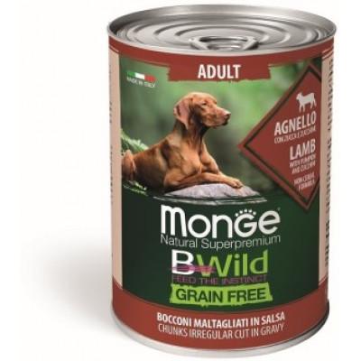 Корм Monge Dog BWild консервы из ягненка с тыквой и кабачками для взрослых собак всех пород