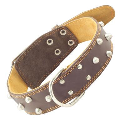 Ошейник кожаный двойной с украшением и кольцом, 45мм*810мм