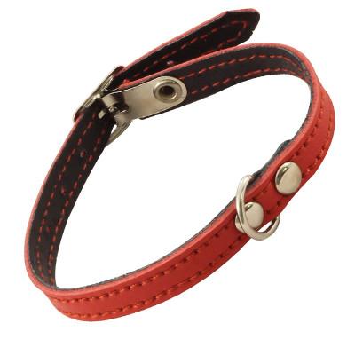 Ошейник-мини кожаный двойной с кольцом, 10мм*250мм