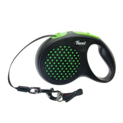 Flexi рулетка Design M (до 25 кг) лента 5 м черный/зеленый горох