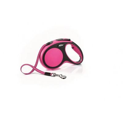 Flexi рулетка New Comfort М (до 25 кг) лента 5м, черный/розовый