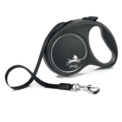 Flexi рулетка Black Design L (до 50 кг) 5 м лента черный/серебро