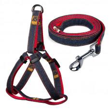 Комплект шлейка и поводок, джинсовый, красный, 20*450-600мм; 20*1200мм