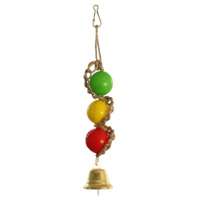 """Игрушка для птиц """"Шарики с колокольчиком"""", 180*30мм"""