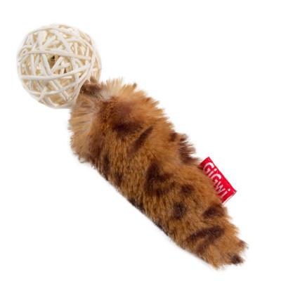 """Игрушка для кошек GiGwi """"Плетеный мячик с хвостом и кошачей мятой"""", 13 см"""