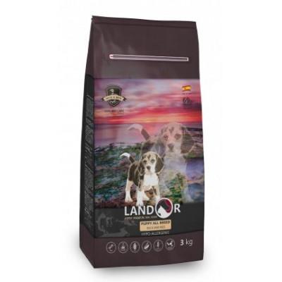 LANDOR Полнорационный корм для щенков всех пород от 1 до 18 месяцев утка с рисом