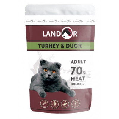 LANDOR влажный корм для кошек индейка с уткой (пауч)