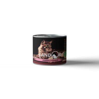 LANDOR Полноценный сбалансированный влажный корм для стерилизованных кошек индейка с клюквой