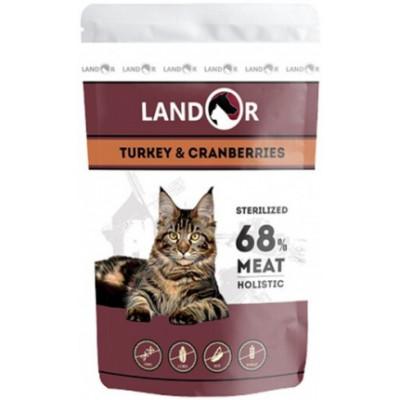 LANDOR влажный корм для стерилизованных кошек индейка с клюквой (пауч)