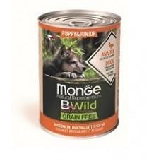 Корм Monge Dog BWild Puppy&Junior консервы из утки с тыквой и кабачками для щенков всех пород