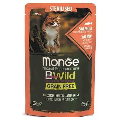 Monge Cat BWild паучи из лосося с креветками и овощами для стерилизованных кошек
