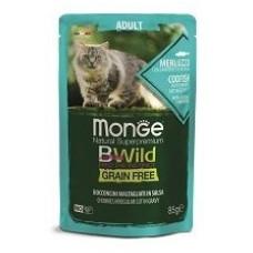 Monge Cat BWild паучи из трески с креветками и овощами для кошек