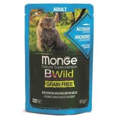 Monge Cat BWild GRAIN FREE паучи из анчоусов с овощами для кошек